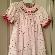 Smocked Christmas Bow Dress 24 Months   eBay