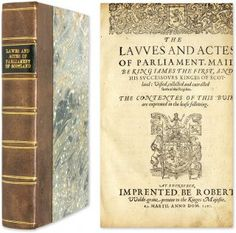 The Lawes and Actes of Parliament Maid be King Iames the First, John Skene.