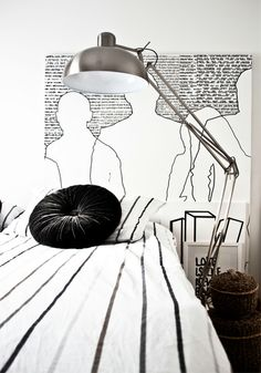 Pillow - Black and white round pillow. Monochrome bedroom inspiration.