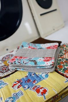 vintage fabric coasters.