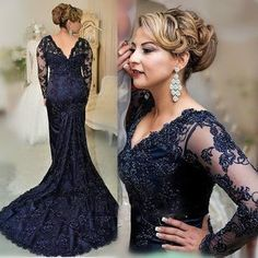2016 Navy Blue Mermaid Lace Appliqued Mother Of The Bride Dresses Appliques  Beads Long Sleeves Formal Evening Gowns Plus Size Mother Of The Bride  Dresses ... 578ed750928b