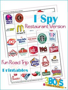 """Road Trip Printables for Kids: Restaurant I Spy  to help you keep the children from uttering the dreaded, """"Are we there, yet?"""" phrase!"""