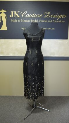 Sophie  Black and Gold Evening Dress by JKCoutureDesigns on Etsy, $399.00