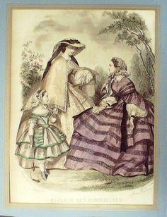 GRAVURE de MODE AUTHENTIQUE-N 59-MAGASIN DES DEMOISELLES-1850
