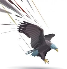 Landing bald eagle illustrator vector