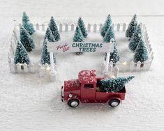 Miniature Christmas Tree Lot - Christmas Decoration Holiday Craft Kit – Smile Mercantile Craft Co. Christmas Tree Lots, Christmas Village Display, Miniature Christmas Trees, Christmas Scenes, Christmas Villages, Christmas Home, Christmas Lights, Vintage Christmas, Christmas Holidays