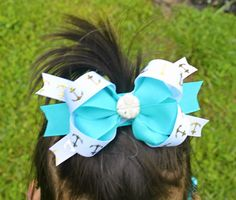 Seashell Turquoise Anchor Pinwheel/Stacked Hairbow by mLyCreations