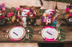 Obsessed with this pineapple themed bachelorette party tablescape.   Everistta Bridal Earrings Featured on Green Wedding Shoes | Bachella Bachelorette Party | Photographer Alexandria Monette Photography | www.everistta.com