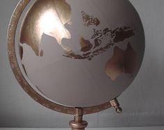 Custom made Hand Painted Globes by WholeWorldOfLove on Etsy
