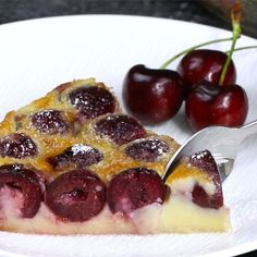 Easy Cherry Clafoutis – A classic rustic French recipe using summer's fresh cherries. It's so smooth and melts in your mouth. And it's simple to make! All you need is fresh cherries, butter, sugar, egg, salt, vanilla extract, almond extract and milk. The perfect desert and will wow your family and friends! Quick and easy recipe. Party food. Great for a holiday brunch such as Easter, Mother's Day or Father's Day. Video recipe.