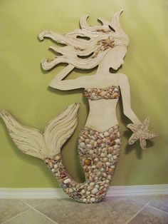 Made to Order Hand Made Mermaid Beach Wall Art Mixed Sea shells, Starfish, Textured Sculpture Mosaic, Signage, Sea Siren, Vintage Look