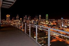 Dallas skyline at night from penthouse apartment...