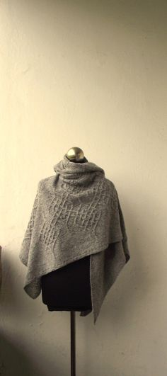 Light Grey hand knitted shawl with celtic cable motifs wool   Etsy Knitted Shawls, Lace Knitting, Merino Wool, Tweed, Celtic, Cable, Scarves, Grey, Fashion