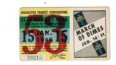 TRANSIT TICKET Pass Rochester New York January 15 1949 March of Dimes Campaign | eBay New York January, January 15, March Of Dimes, Rochester New York, Ephemera, Ticket, Campaign, Ebay