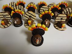 Cookie Turkeys - They may not be the prettiest turkeys ever, but they sure are fun to make and serve! You'll find step-by-step directions on how to make them!