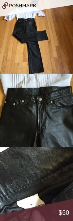 Genuine Leather Jean Butter soft leather tailored just like your fav Jean but so much sexier... Straight leg classic . Great with heels , Chucks or combat boots or on a motor bike . Size said 1 but these are more a 2 and have some stretch to them . Flawless no damages!  Jeans Straight Leg