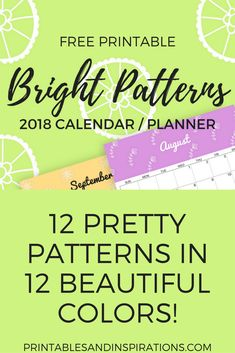 2018 calendar | 2018 planner | 2018 colorful calendar | monthly planner printables | free printable calendar and planner