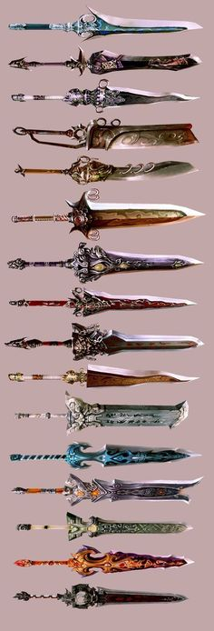 New Weapon Concept Art Anime 41 Ideas Fantasy Sword, Fantasy Weapons, Fantasy Art, Swords And Daggers, Knives And Swords, Anime Weapons, Ninja Weapons, Sword Design, Medieval Weapons