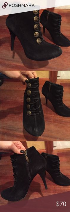 Guess Suede Military Bootie Amazing condition black GUESS suede booties with decorative military buttons and inside zipper closure. These are so perfect for cold weather. Open to offers! 😊 Guess Shoes Ankle Boots & Booties