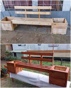Pallet Bench with Planter Boxes