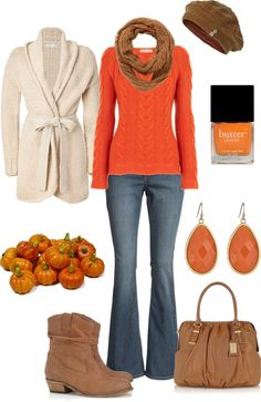 Pumpkin Orange comfy Fall Outfit