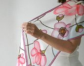 Painted scarf, pure silk scarf, white scarf (pink purple green brown colors, floral), long scarf, gift for her, woman gift. MADE TO ORDER