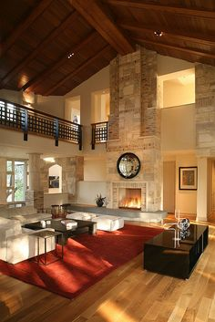 Luxury home living - fireplace Architecture Design, Casa Loft, Bungalows, Home Design, Design Room, Great Rooms, My Dream Home, Home And Living, Luxury Homes