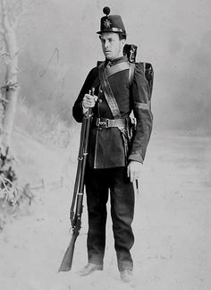 Corporal J. Dowker. Men of the Canadian Militia Battalion, the 3rd Victoria Rifles of Montreal, in 1870. The Victoria Rifles saw action against the Fenians that year, notably in the Battle of Eccles Hill on 25 May 1870. This portrait was taken to commemorate the event.