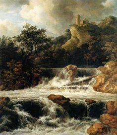 Cascade avec Castle Mountain de Jacob Isaakszoon Van Ruisdael (Ruysdael) (1628-1682, Netherlands)