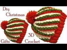 Gorro a Crochet punto 3D gomitas colores de Navidad tejido tallermanualperu - YouTube