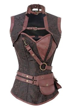 Spiral STEEL BONED STEAMPUNK Brown Damask CORSET + Utility Belt + Shrug Jacket