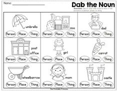 Noun Worksheets for Kindergarten Spring and Weather Centers for Kindergarten Math & Literacy Nouns And Verbs Worksheets, Proper Nouns Worksheet, Parts Of Speech Worksheets, Nouns And Adjectives, 1st Grade Worksheets, Worksheets For Kids, Printable Worksheets, Printables, Nouns Kindergarten
