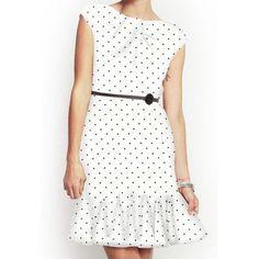Belted flared hem polka dot dress