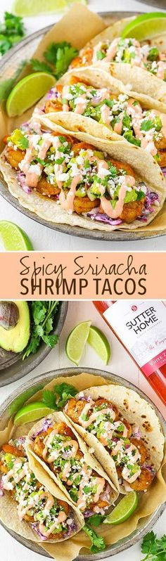 Spice Sriracha Shrimp Tacos - lightly spice shrimp, sriracha sauce, guacamole and slaw! A great spicy taco with sweet Sutter Home White Zinfandel wine! #SweetOnSpice
