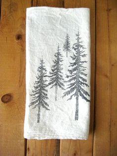 Tea Towel - Screen Printed Organic Cotton Mountain Scene Flour Sack Towel - Awesome Kitchen Towel for Dishes.