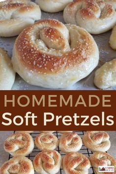 Homemade Soft Pretzels - A Farmish Kind of Life. Craving a homemade special treat? Homemade soft pretzels will fit the bill! Homemade Soft Pretzels, Homemade Bagels, Pretzels Recipe, Homemade Recipe, Real Food Recipes, Dessert Recipes, Cooking Recipes, Yummy Food, Bread Recipes