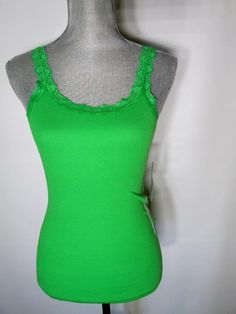 Green Tank Top with Lace Medium Jenni by Jennifer Moore Cotton Knit…