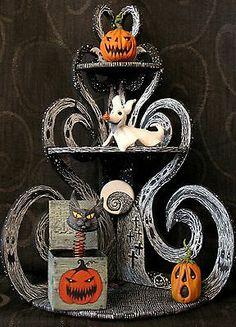 "OOAK ""Nightmare Before Christmas"" Corner Shelf with Halloween Sitters HA31!"