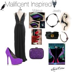 "Costume inspired by the Disney Villain ""Malificent"". I like the idea of creating the eyeshadow look to match the character and just be glamourous all around and..."