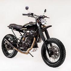 Black & Knobby: Suzuki DR650 scrambler by @luccacustoms. #dr650 #scrambler #dualsport #tracker #dirtbike #custombike