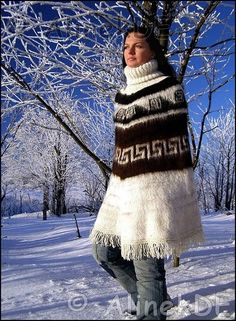 White Poncho, Icelandic Sweaters, Knitted Cape, Angora Sweater, Winter Sweaters, Sweater Fashion, Shawls And Wraps, Catsuit, Wool Coat