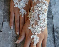 ivory wedding glove Bridal Glove ivory lace cuffs lace ivory