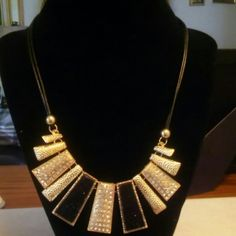 Beautiful Statement Necklace Black &Gold. Necklace with adjustable clasps. Jewelry Necklaces