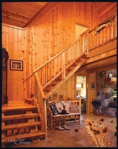 Log staircase made kiln-dried Northern White Cedar! #eggnog