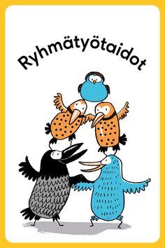 Vahvuuskortit - Positive Learning Learn Finnish, Self Help, Clip Art, Positivity, Teaching, Feelings, Fictional Characters, Life Coaching, Fantasy Characters
