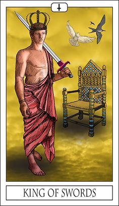 The King of Swords represents the professional aspects of authority. Often associated with those in legal or business careers, he most likely represents someone who will aid you in one of these fields. This person may be assertive, or even seek to dominate you in their confidence that they know how best to aid you. While they may be friendly, their primary motivation is unlikely to be emotional.