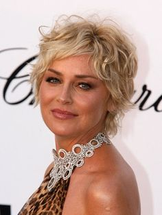 Cute Sharon Stone Short Curly Hairstyle