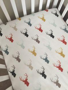 Crib Sheet  Multi Color Deer Head Silhouette by 3LollipopGirls
