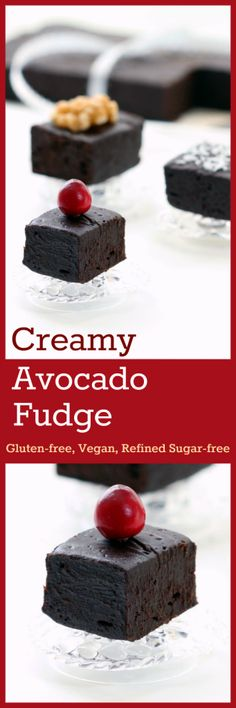 Nutritionicity | Recipe: Creamy Avocado Fudge is nothing short of a pure fudgy delight! Exquisite yet simple -- only 15 minutes of your time.  Healthy and indulgent!  (Gluten-Free, Vegan / Plant-Based, Refined Sugar-Free) Recipe at http://www.nutritionicity.com/recipes/creamy-avocado-fudge-gluten-free-vegan-plant-based-refined-sugar-free/