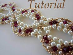 PDF beaded bracelet EKATERINA beading pattern by BeadsMadness - smuk halskæde med fuchsia bicones om hvide romerperler og guld seed